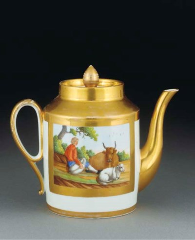 A Paris cylindrical teapot and