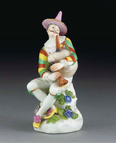 A Meissen figure of Harelquin