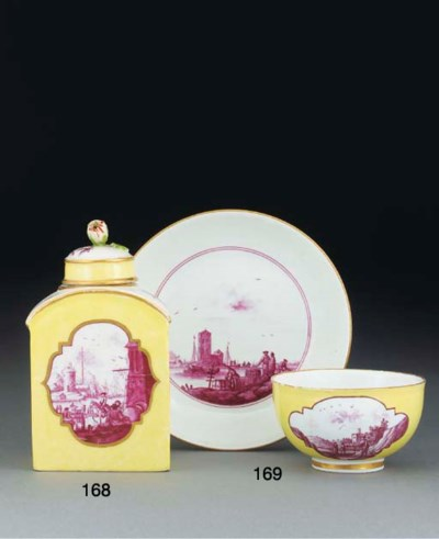 A Meissen yellow-ground arched