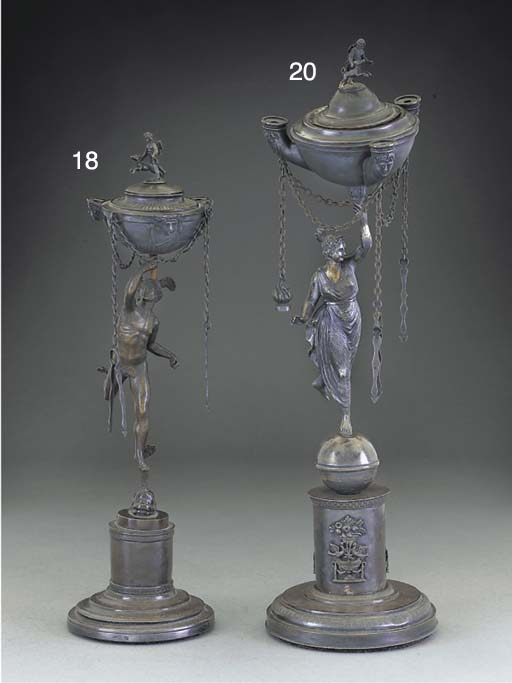 An Italian Silver Oil Lamp