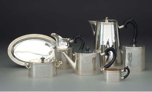 A Seven-Piece Swiss Silver Tea