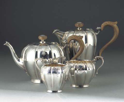 A Four-Piece Modern Silver Tea