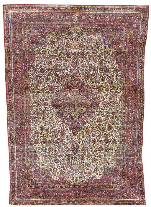 A fine silk Kashan carpet, Cen