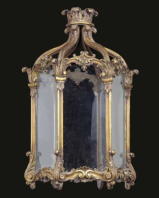 A GILTWOOD HEXAGONAL HALL LANT