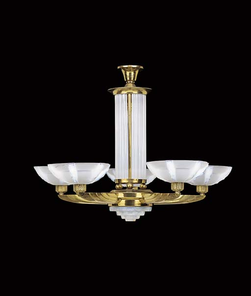 A FRENCH GILT METAL AND GLASS