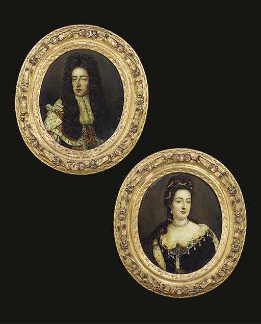 TWO GEORGE III MEZZOTINTS UNDER GLASS OF WILLIAM AND MARY