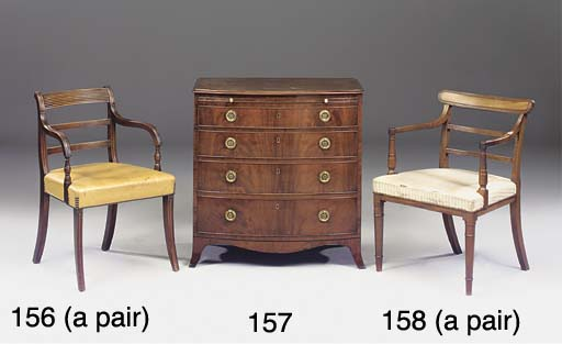 A PAIR OF REGENCY MAHOGANY ELBOW CHAIRS  (2)