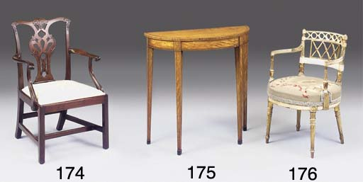 A GEORGE III SATINWOOD TULIPWOOD CROSSBANDED AND INLAID PIER TABLE