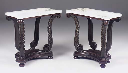 A PAIR OF ROSEWOOD MARBLE TOP