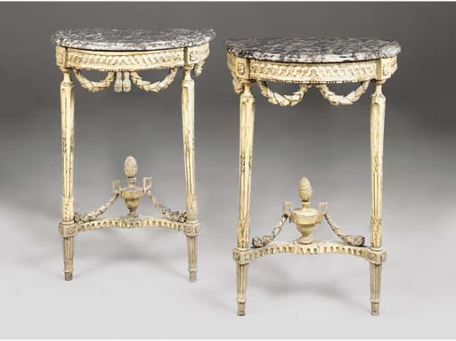 A PAIR OF LOUIS XVI CREAM PAIN