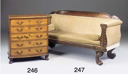 AN ANGLO COLONIAL HARDWOOD AND CROSSBANDED BOWFRONT CHEST