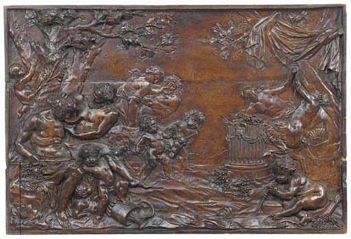 A FRENCH RELIEF CARVED WOOD PA