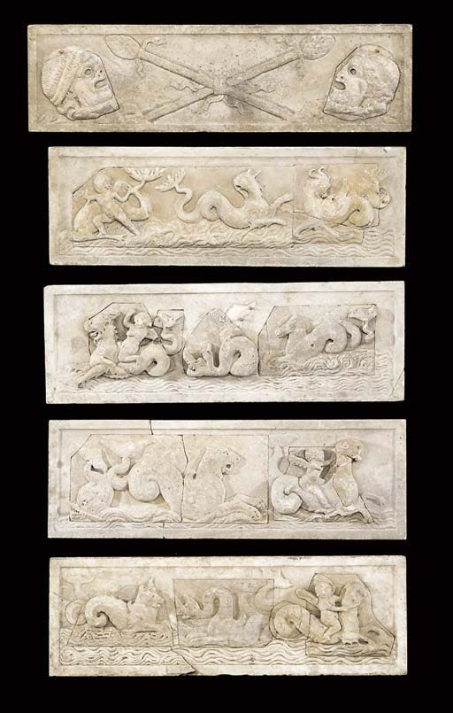 FIVE MARBLE PANELS INSET WITH