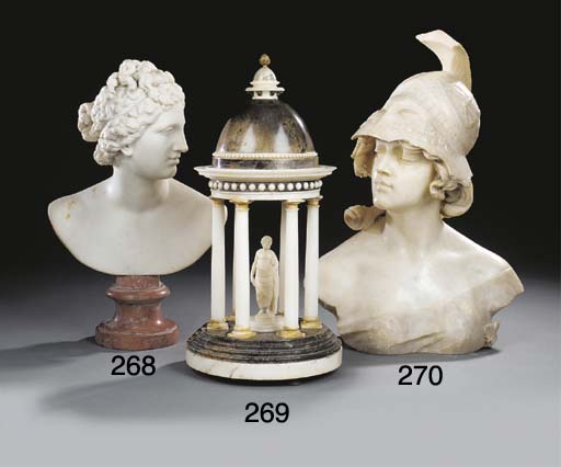 A SCULPTED WHITE MARBLE BUST OF VENUS