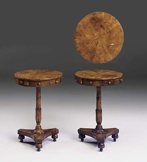 A PAIR OF MALTESE DRUM TOP OCCASIONAL TABLES