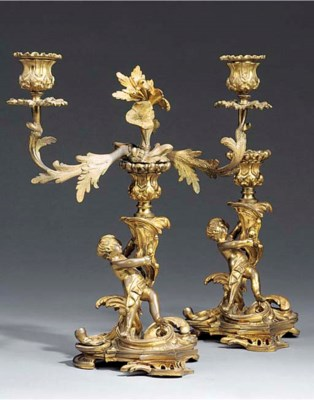 TWO WILLIAM IV GILT BRONZE CAN
