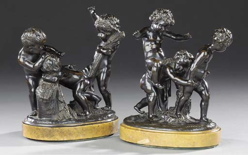 A PAIR OF BRONZE GROUPS OF CAV