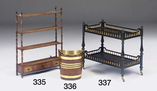 A VICTORIAN EBONISED AND IVORY SPINDLE GALLERIED TWO-TIER ETAGERE