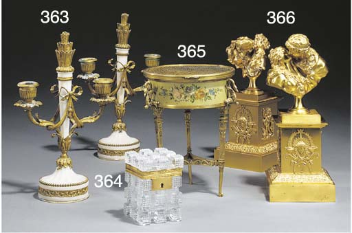 TWO FRENCH GILT BRONZE GROUPS
