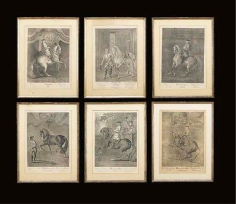 A GROUP OF EIGHT EQUESTRIAN EN