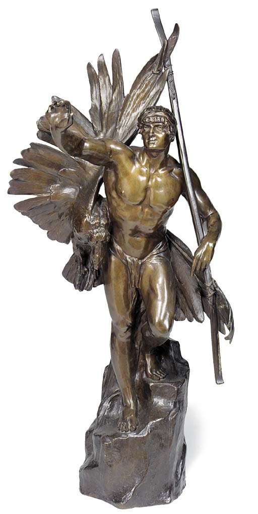 A FRENCH BRONZE FIGURE OF A HU