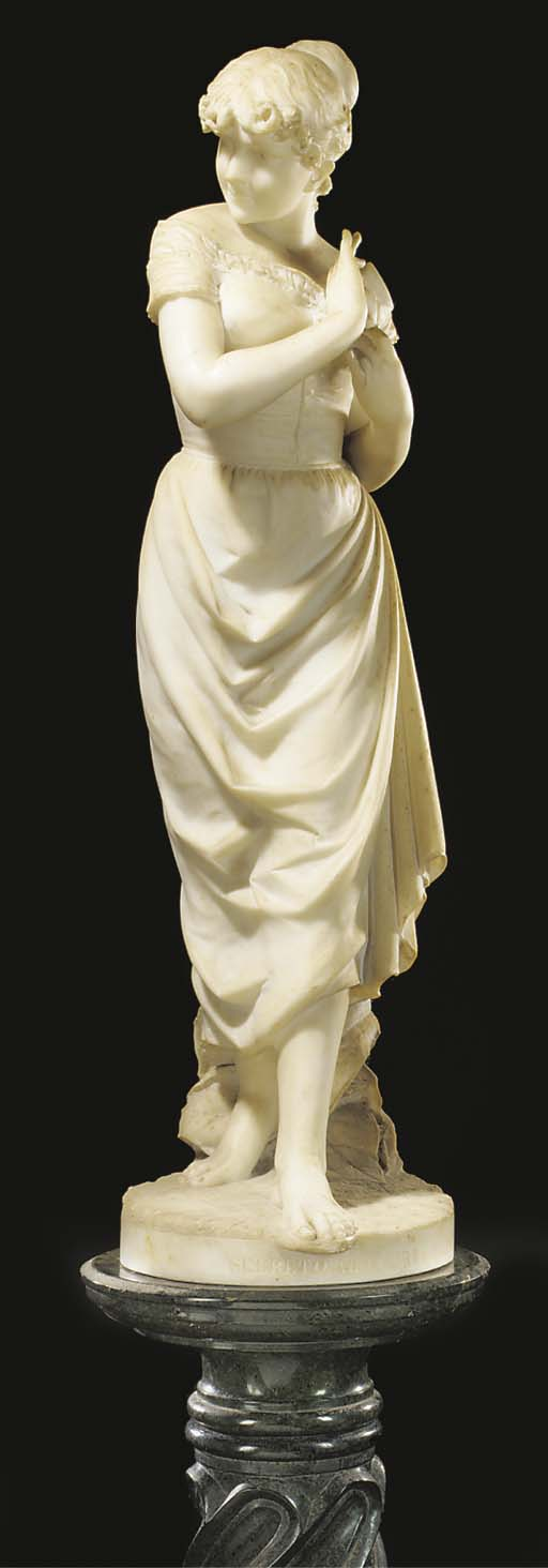 AN ITALIAN SCULPTED WHITE MARB