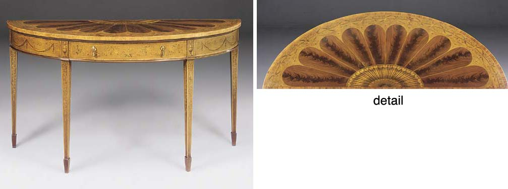 AN EDWARDIAN SATINWOOD MARQUETRY ELLIPTICAL SIDE TABLE