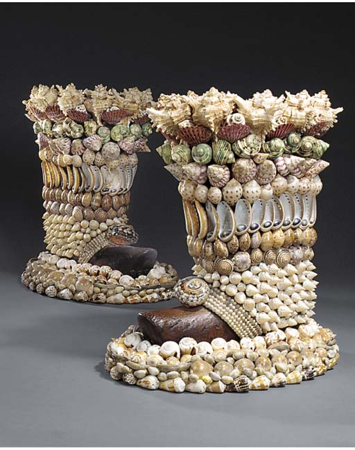 A PAIR OF SHELL ENCRUSTED WOOD