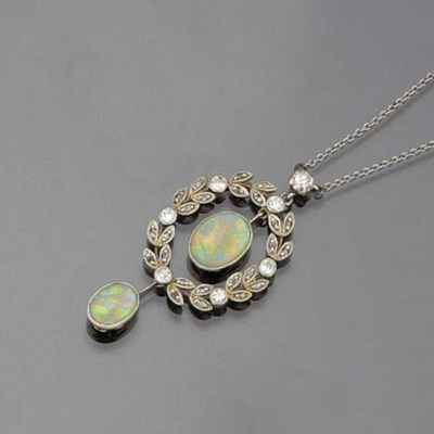 An Edwardian opal and diamond