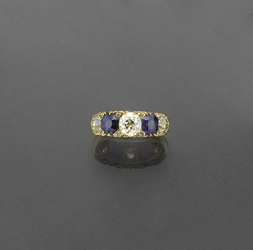 A gold, diamond and sapphire f