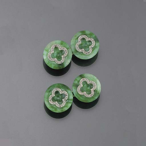 A pair of jade and diamond cuf