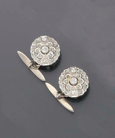 A pair of diamond and rose-cut