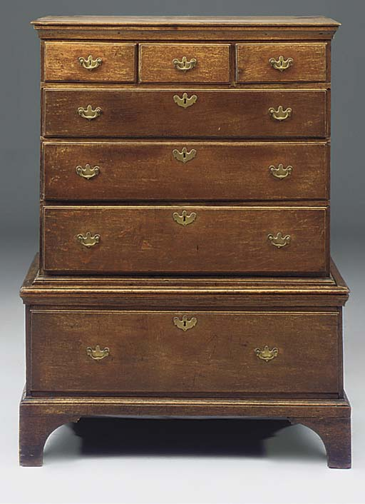 AN ENGLISH OAK CHEST ON STAND