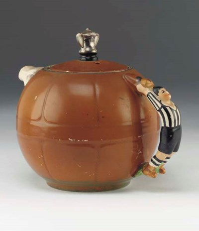A STAFFORDSHIRE POTTERY TEAPOT