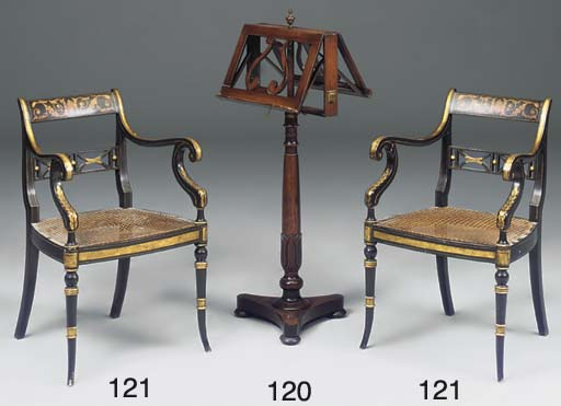 A PAIR OF PAINTED AND EBONISED