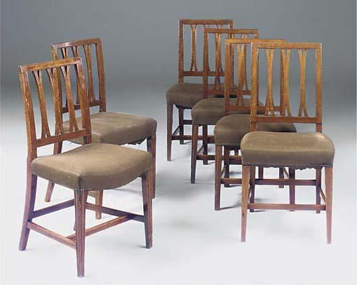 A matched set of six mahogany