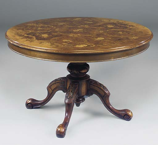 A walnut, satinwood and floral