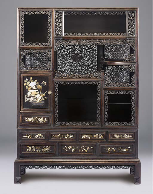 A JAPANESE CARVED HARDWOOD LAC