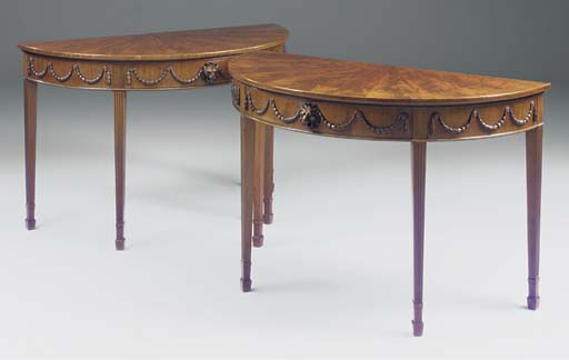 A PAIR OF MAHOGANY DEMI-LUNE S