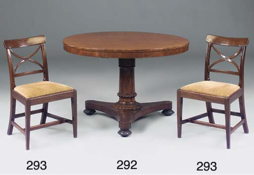 A matched set of four dining c