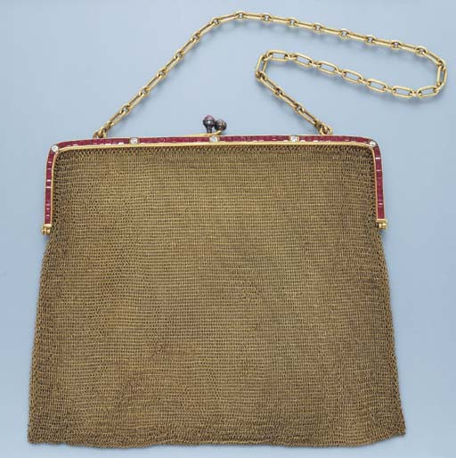 TWO GOLD AND GEM-SET EVENING BAGS AND A PURSE