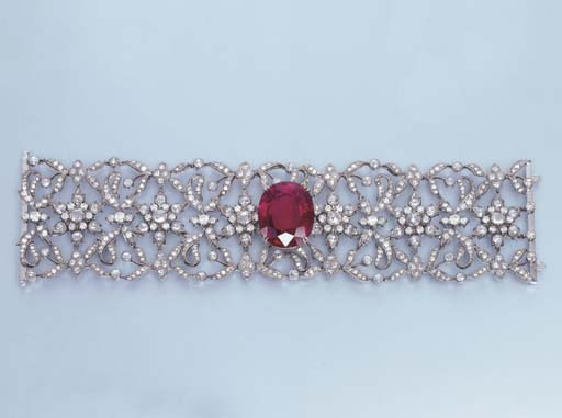 A RUBELLITE AND DIAMOND BRACEL