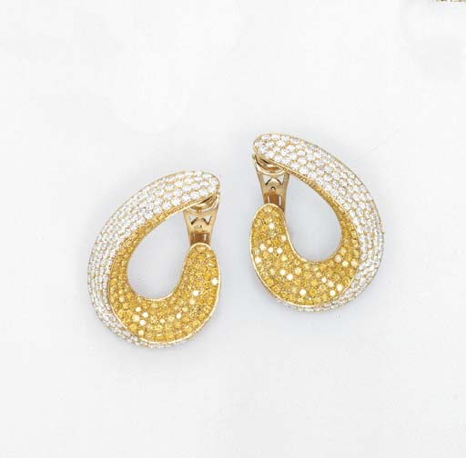 A PAIR OF DIAMOND AND YELLOW D