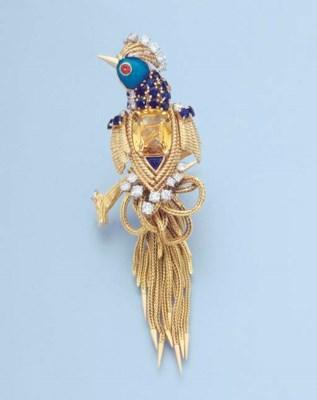 A GOLD AND GEM-SET BIRD OF PAR