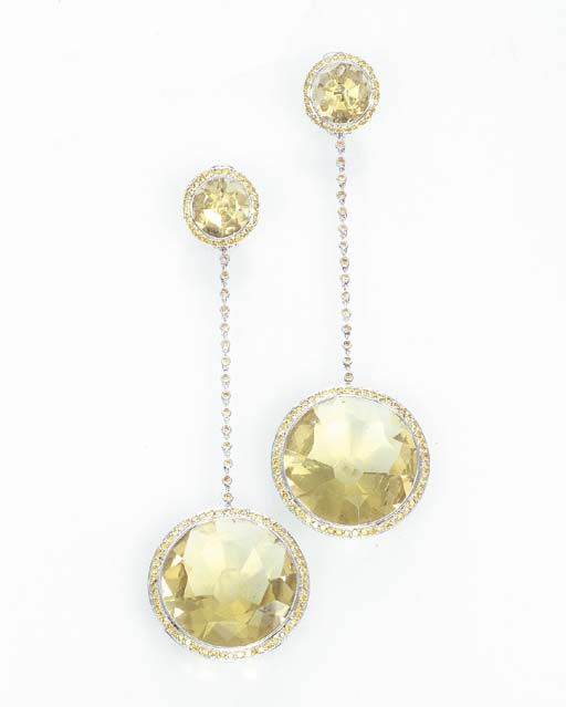 A PAIR OF DIAMOND AND GEM-SET