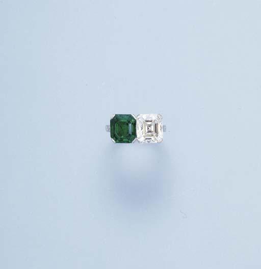 A FINE EMERALD AND DIAMOND TWO