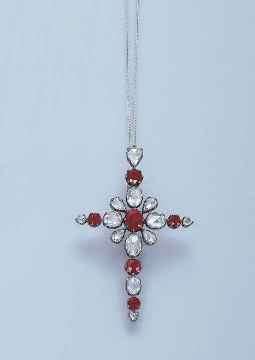 A RUBY AND DIAMOND CROSS PENDA