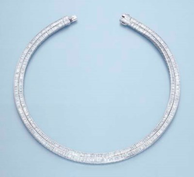 A TWO-ROW DIAMOND NECKLACE