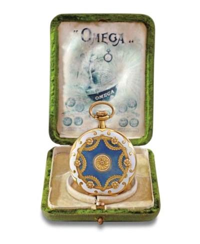 Omega. A rare 18K gold and ena