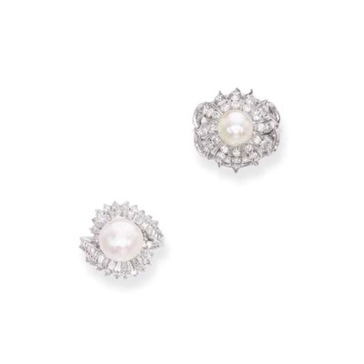 TWO NATURAL PEARL AND DIAMOND